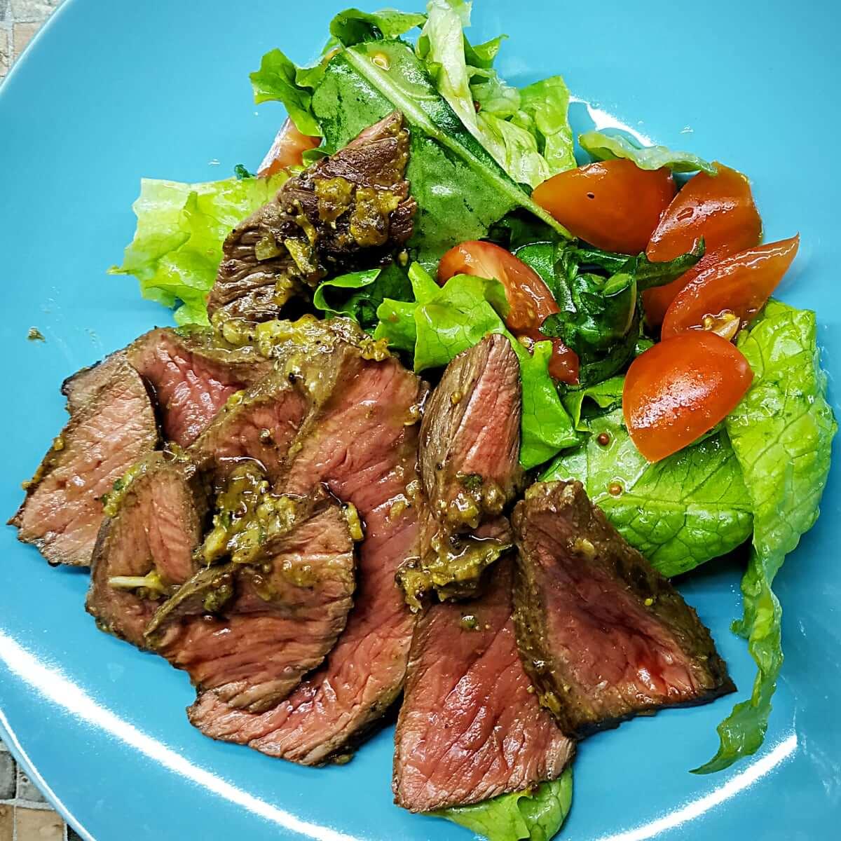 British Roast beef in a fry pan