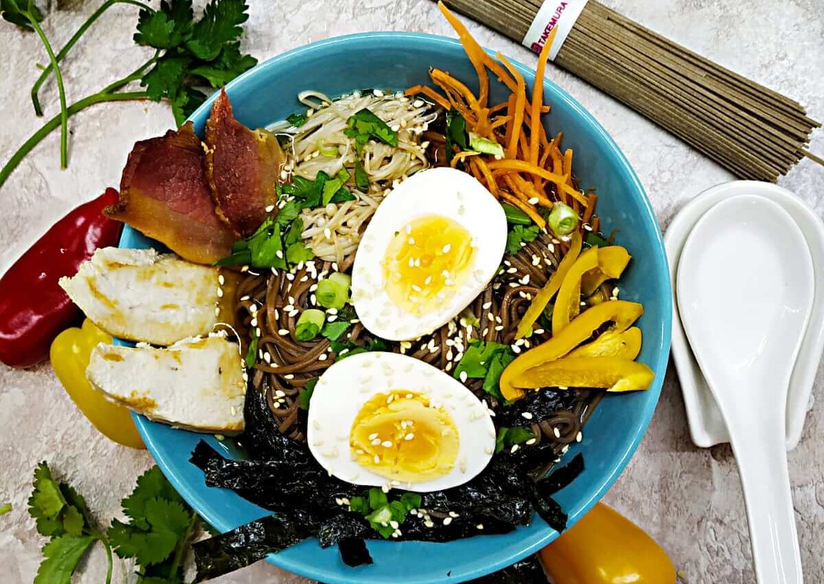 Soba chicken ramen with enoki and egg