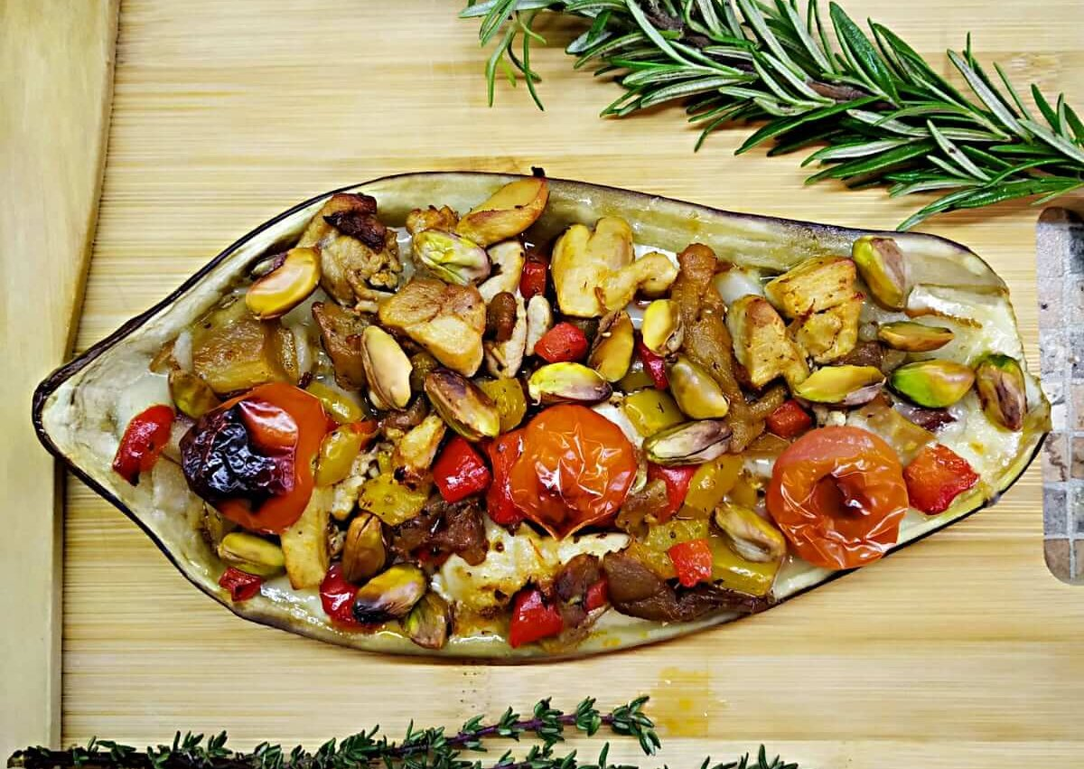 Pistachio-Chicken Stuffed eggplant with pear