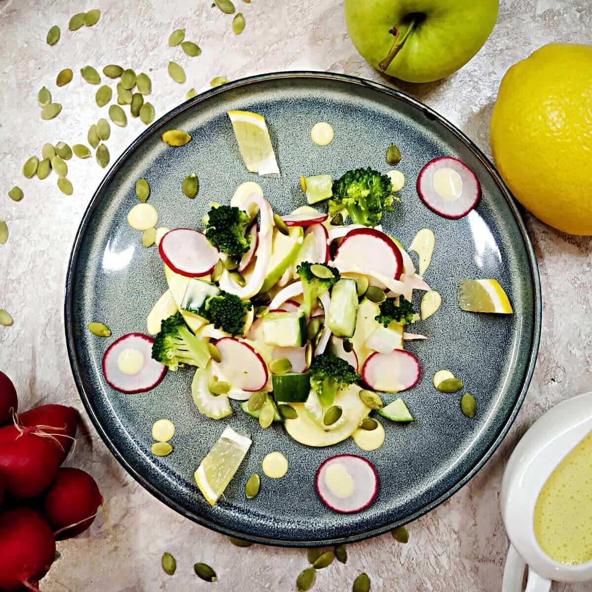 Squid vegetable salad with lemon aioli