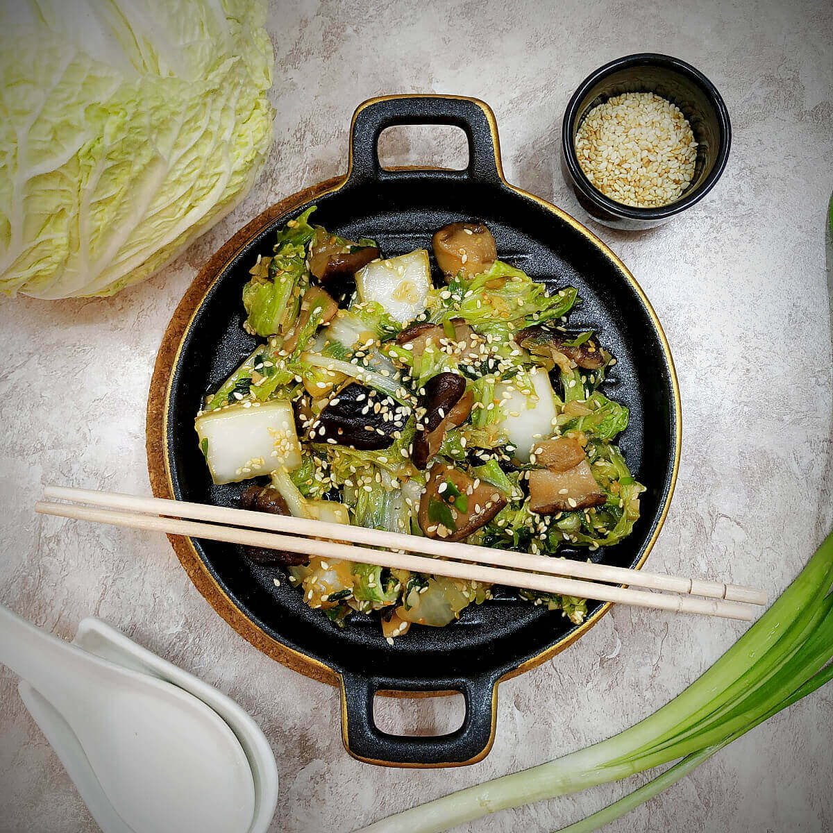 Stir Fried Chinese Cabbage and Shiitake