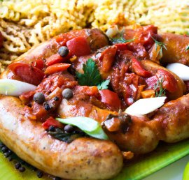 Pork sausages in a spicy tomato sauce