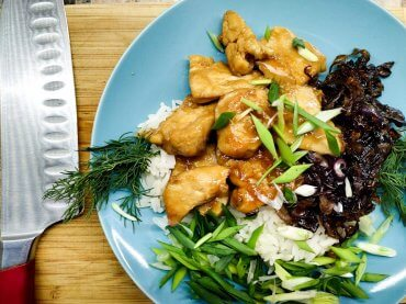Teriyaki chicken with caramelized onion and rice