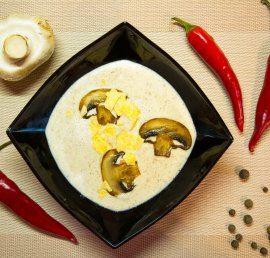 Mushroom soup-puree with cream recipe